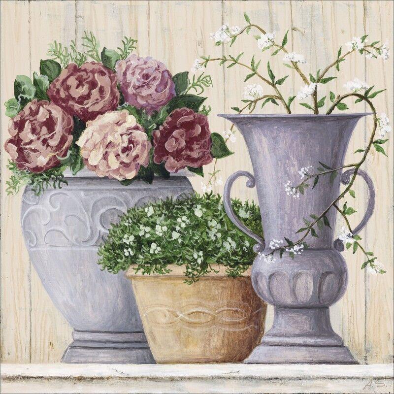 Poster oder Leinwand Bild A.S. Stillleben Vasen Töpfe Botanik Malerei Creme A6YK