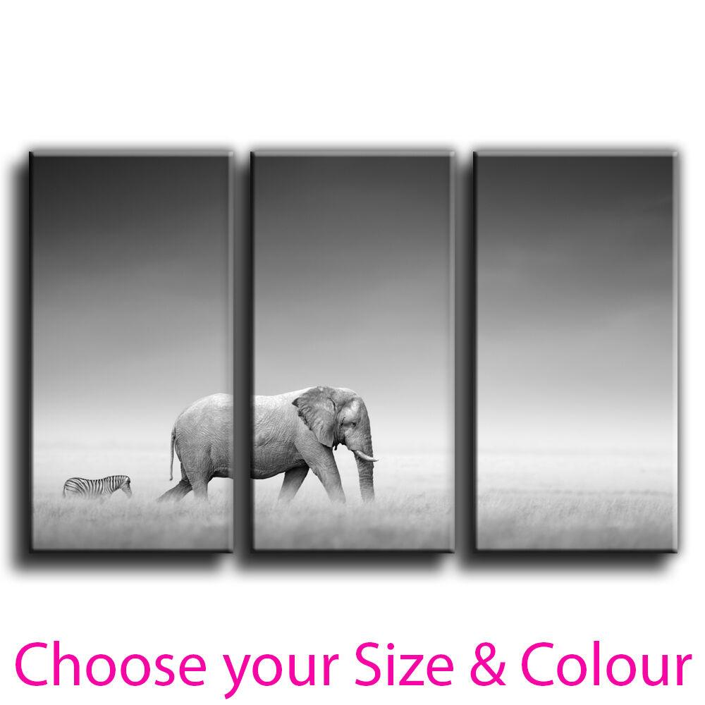 Elephant Canvas Print Wall Art Treble Picture 11 Gallery Grade pre