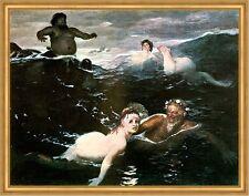 Spiel der Wellen Arnold Böcklin Nixe Meer Poseidon Wassergott LW H A1 0081