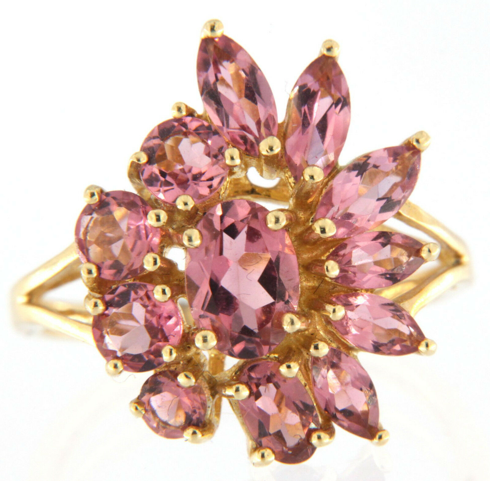 Women's Pink Stone Cluster Ring 14kt Yellow gold
