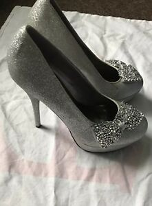New-Ladies-Women-Silver-Sparkly-Glitter-Shoes-Heels-Size-6-5