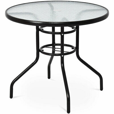 32 Patio Round Table Steel Frame Dining Table Patio Furniture Glass Top EBay