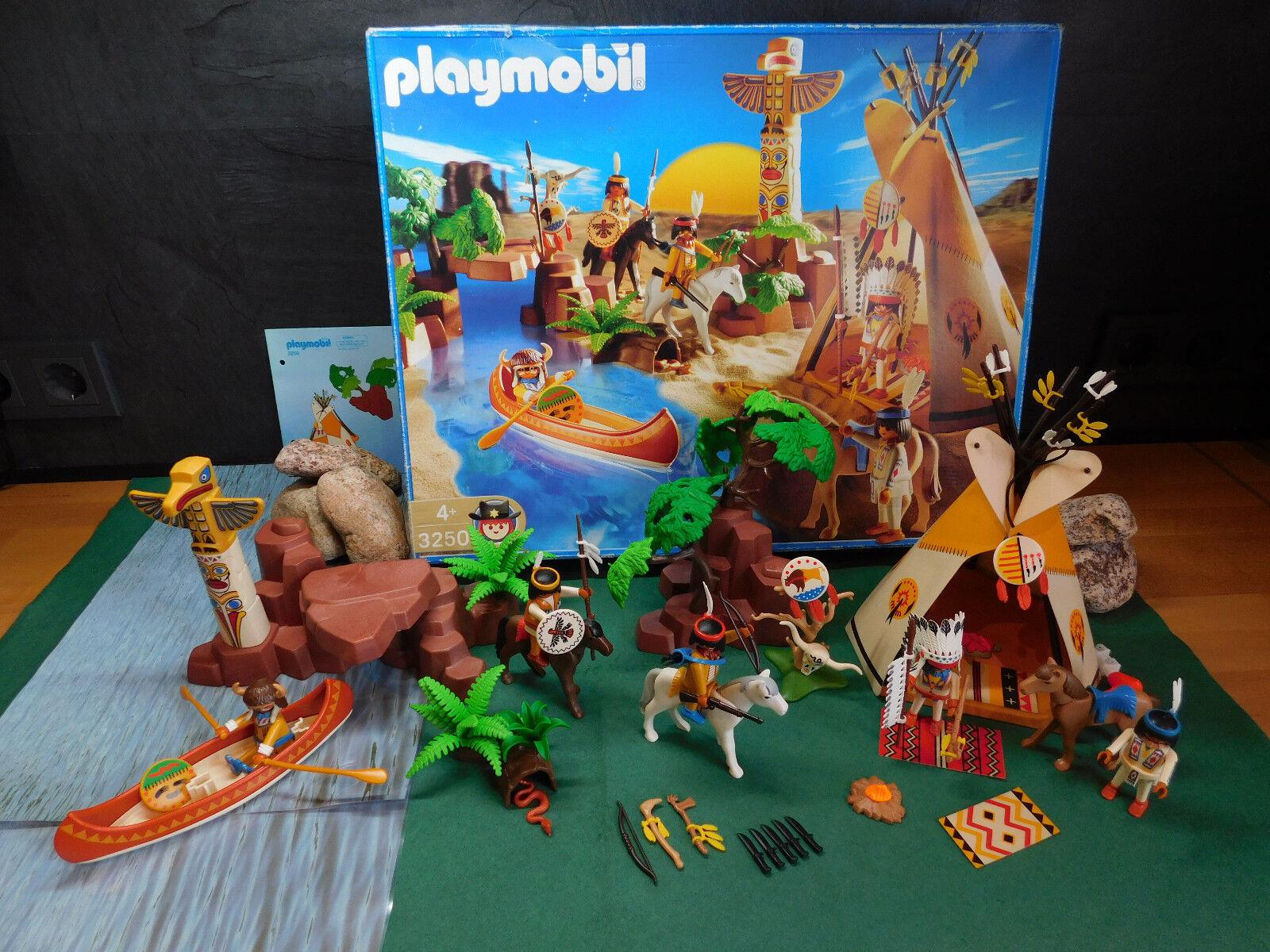 Playmobil Rarität Indianerdorf 3250-A 2002 mit gel. Orig.-BA und OVP