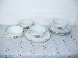 """Royal Crown Germany """"RLW1"""" set  (4) cups & saucers w/ pink roses & buds"""