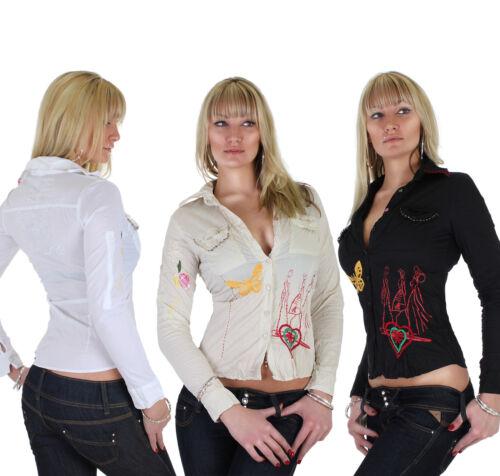 42 XL ★ 15p Damen Bluse Hemd Schmetterling Knitter Stickerei 3 Farben 36 S