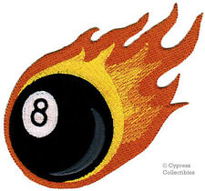 8-BALL EMBROIDERED IRON-ON PATCH eight POOL SHARK BILLIARDS FLAMING FLAMES FIRE