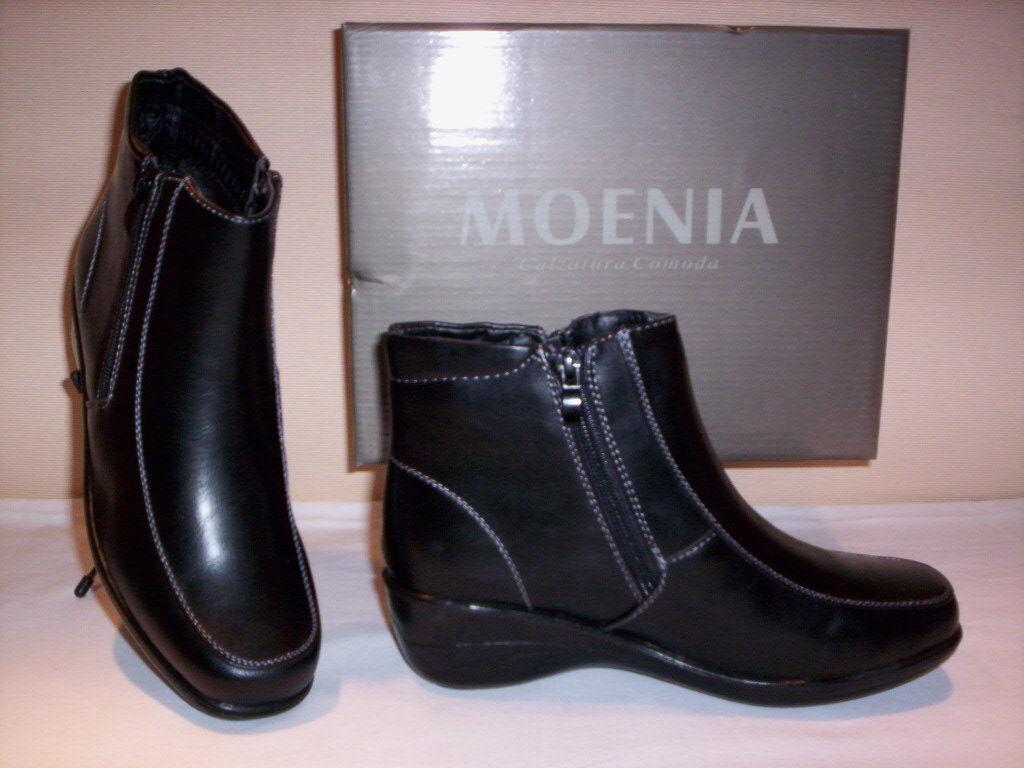 Zapatos classiche stivaletti stivaletti stivaletti Moenia mujer Zapatos zeppa neri zip 35 36 37 38 39 40 0266b6