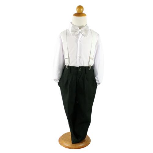 Baby page Boys 4pcs Formal Wedding smart suit black pant+Shirt+Bowtie+brace