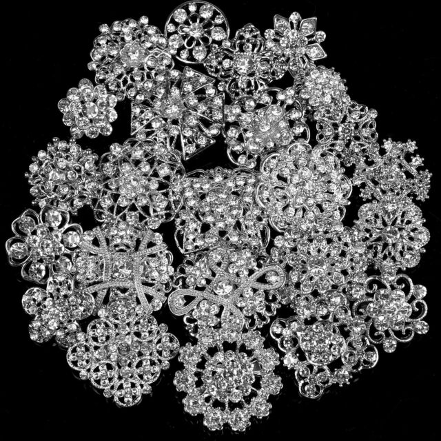 FABSELLER Rhinestone Crystal Flower Brooches Pins Set of 24 DIY Wedding Bouquet Brooches Kit Bridal Bouquet Decor