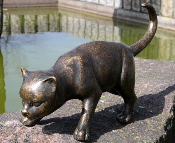 Escultura de bronce dulce corrientes gato decoración para casa y jardín