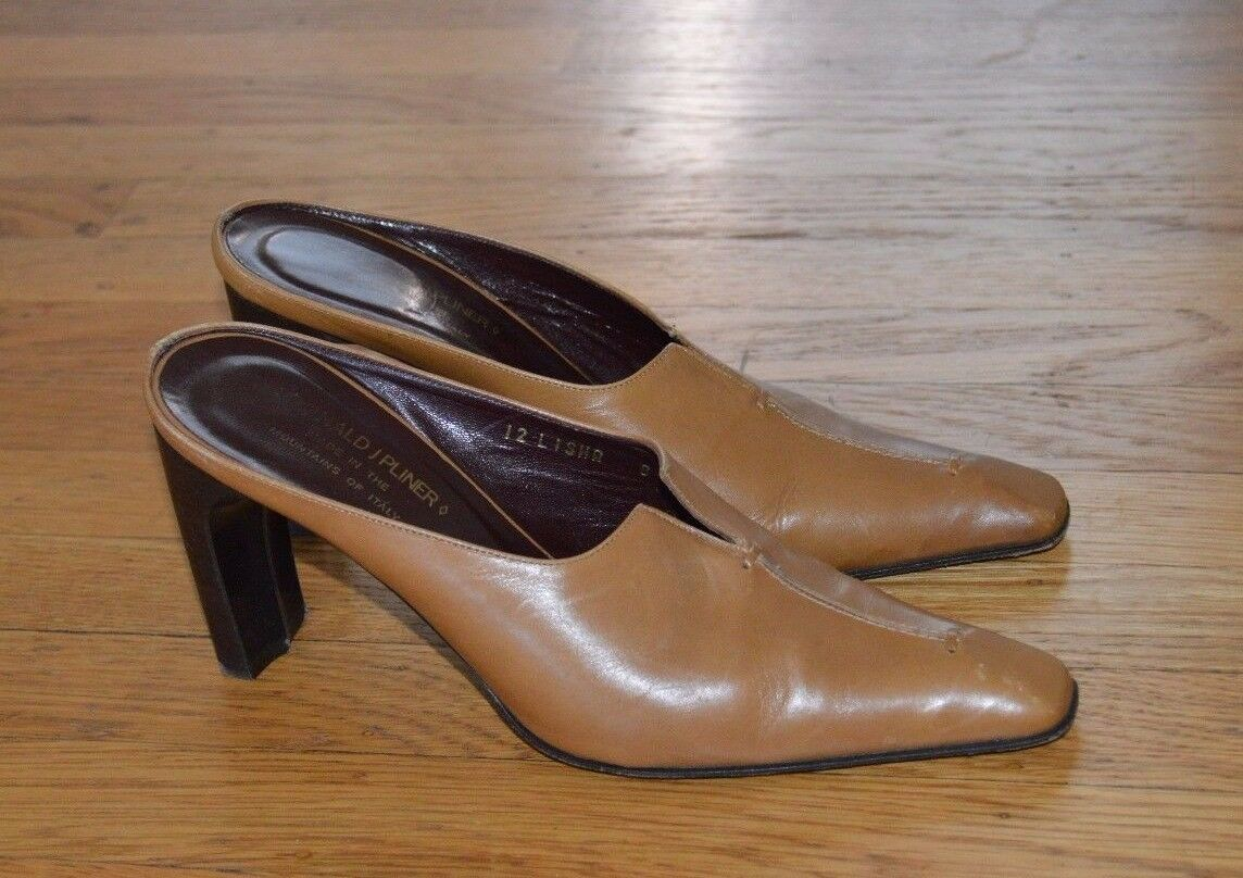 Donald J. Pliner Tan Leather High Heel Mules shoes (Sz 7.5 M)- Made In
