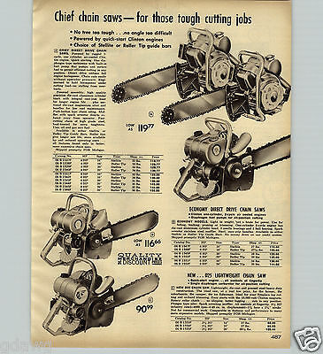 1963 PAPER AD Chief Brand Chain Saw Clinton Engine 4 6 HP
