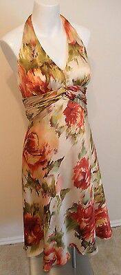 JONES NY Silk ISLAND BREEZES Floral Halter Sun Dress Large 14 Pink Ivory $148