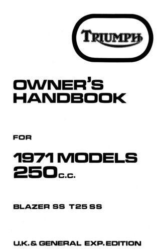 1275 Triumph 1971 UK Trophy TR25W Owners handbook