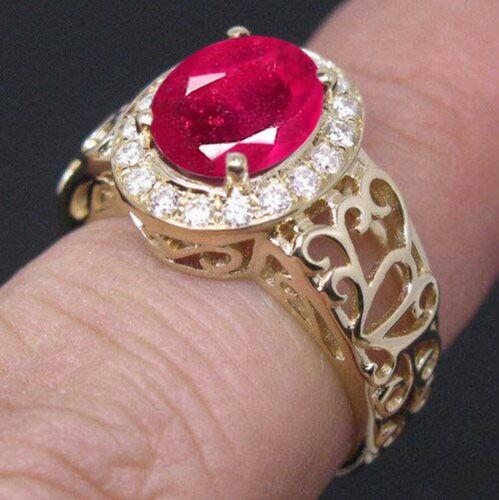 585er Gelbgold 1,75 Karat Natürlich Rot Rubin EGL Zertifiziert Diamant Ring