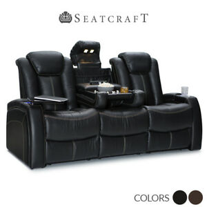seatcraft republic leather home theater seating sofa with fold down table power ebay. Black Bedroom Furniture Sets. Home Design Ideas