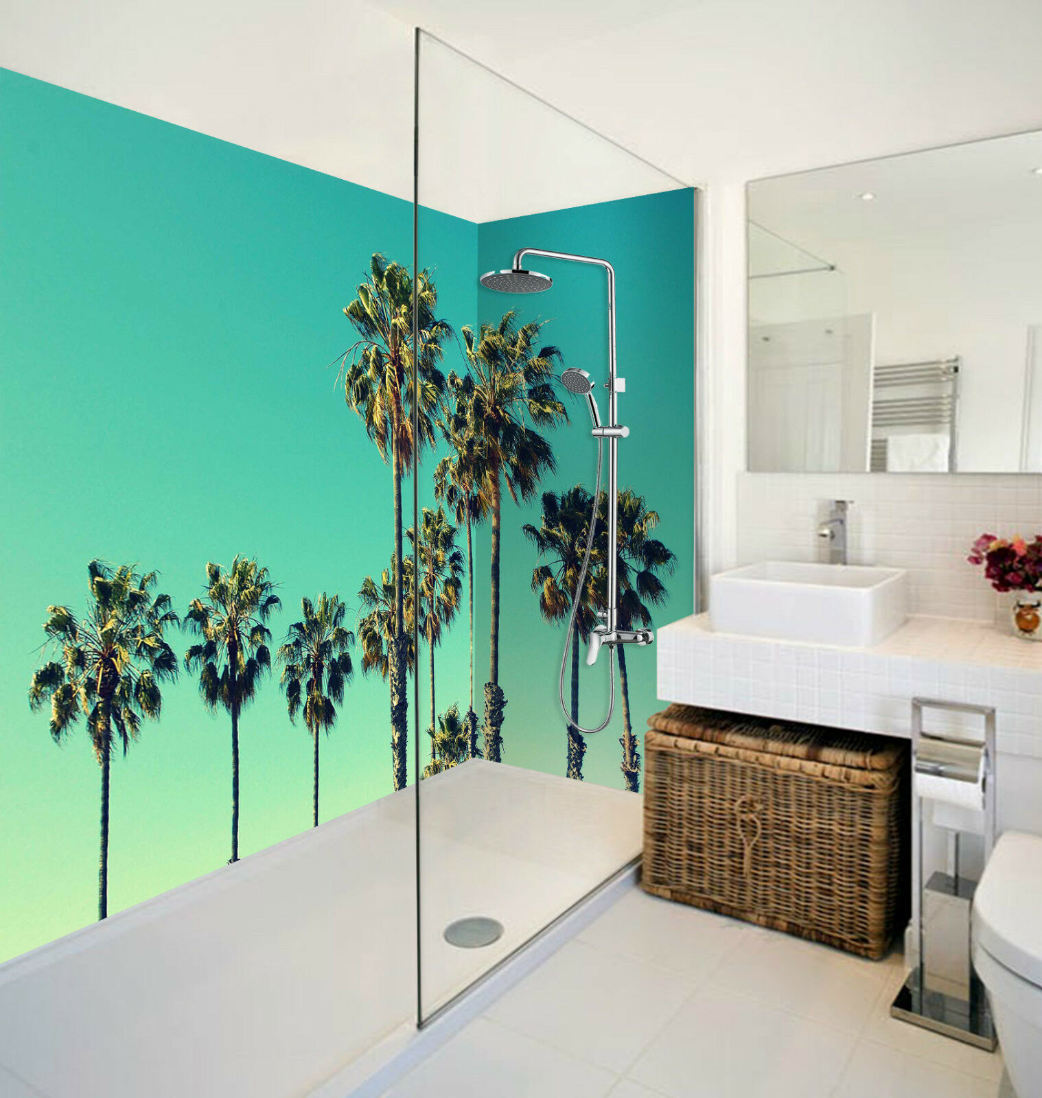 3D Tall Palm Trees 059 WallPaper Bathroom Print Decal Wall Deco AJ WALLPAPER CA