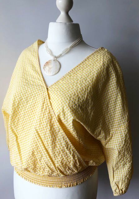 M&S Ladies Yellow Gingham Wrap Blouse Top Shirred Stretch Autumn Smart Casual 16