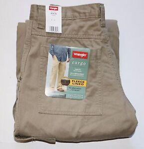 2c2f684d Wrangler Men's Fleece Lined Cargo Pants Khaki All Men's Sizes Free ...