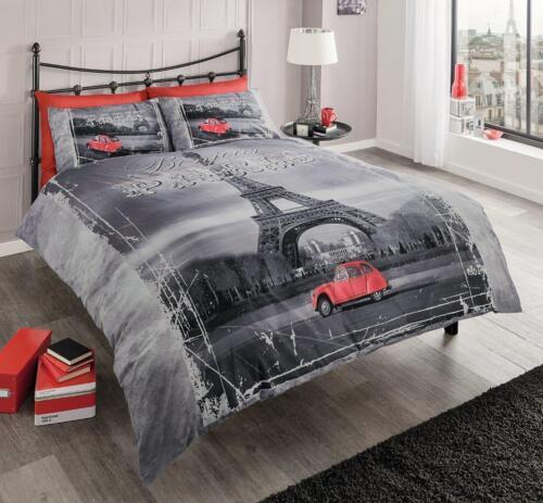 Multi Paris Modern Premium Printed Duvet Set Quilt cover Set With pillow Cases