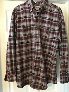 Carhartt-Men-039-s-Flannel-Shirt-Gray-Red-Plaid-Sz-Large-Original-Fit