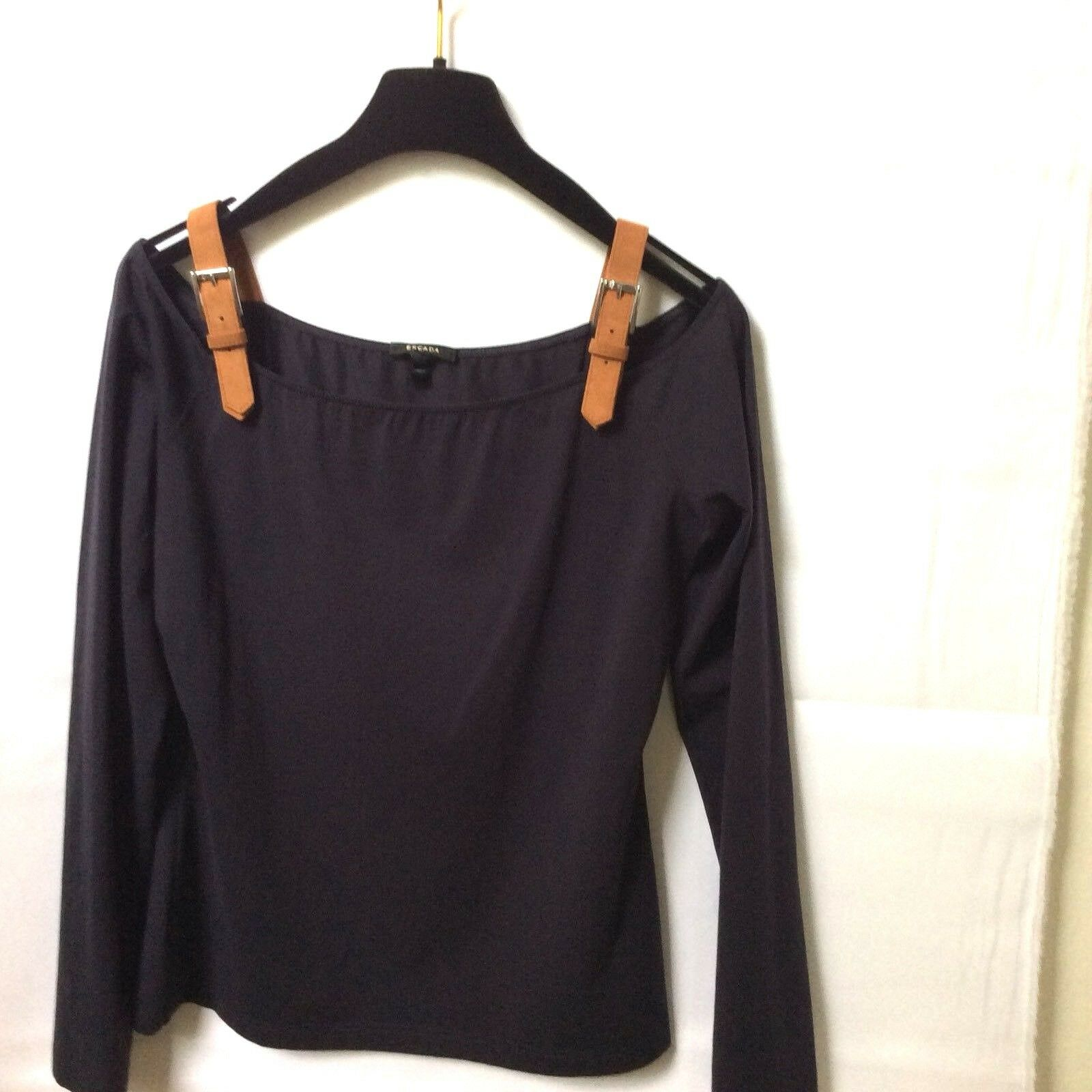 Escada Off-The-Shoulder Long Sleeve Top, Navy 40   8 - 10