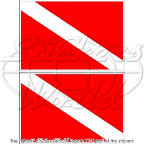"SCUBA DIVING Flag DIVE DOWN Diver 4/"" Bumper Stickers x2"
