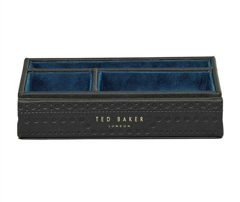 Ted Baker Black Brogue Valet Luxury Tray For Accessories Perfect Gift 💙 RRP