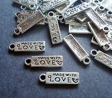Small 'Made With Love' Rectangular Tag Charms - Silver - Set of 50