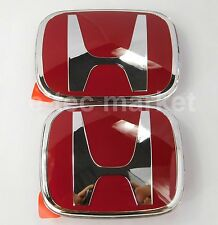 2pcs JDM Honda Front Rear Red H Emblem 2006-2015 CIVIC 4 DR SEDAN