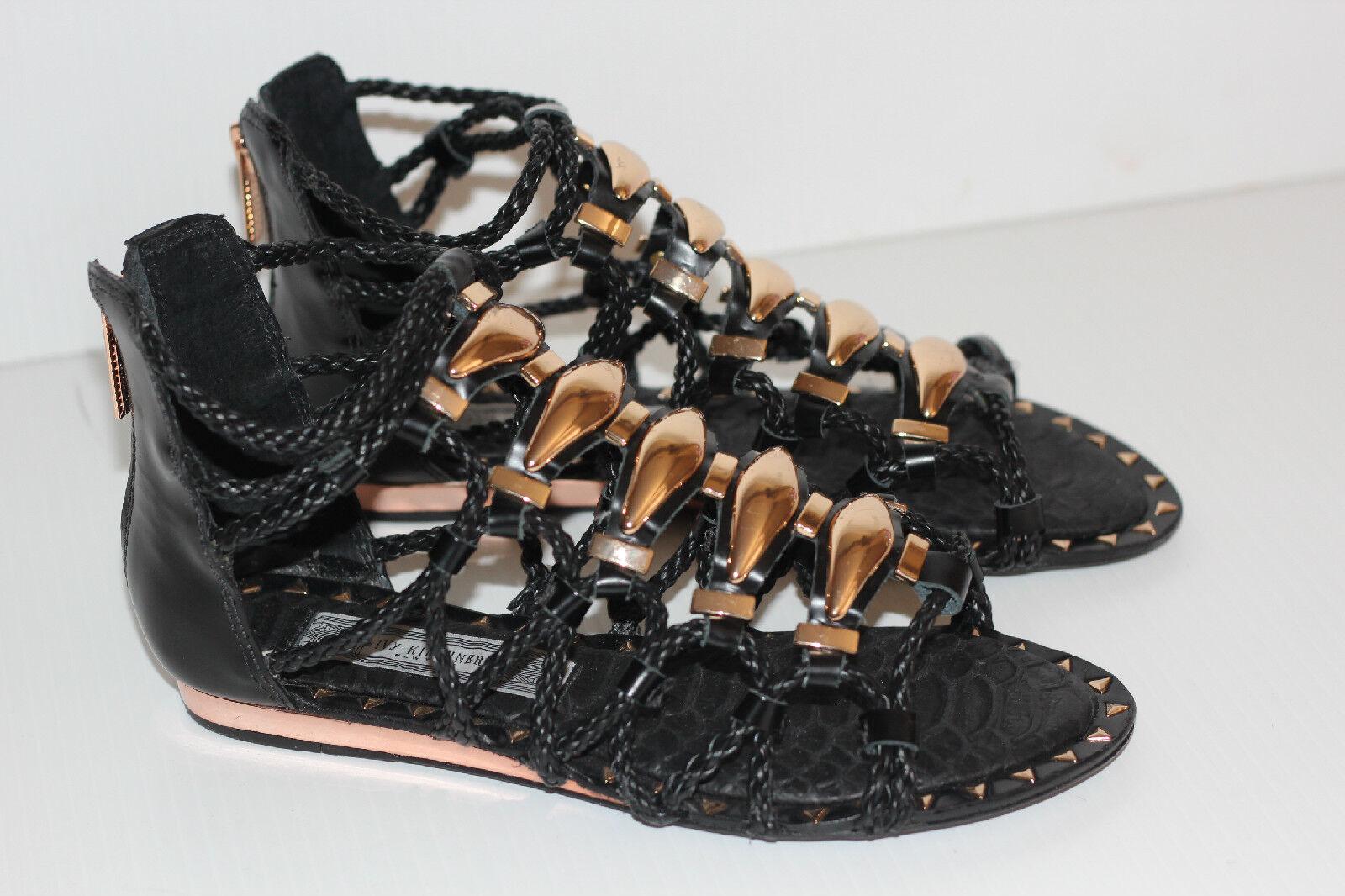 NEW Ivy Kirzhner Brass Gladiator Strappy Sandal - Black   gold - Size 6M (X11)