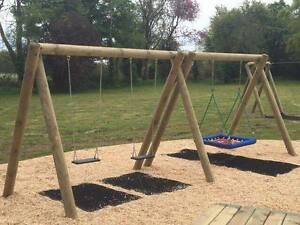 Commercial Double Wooden Swing Set Pressure Treated Nest Swing