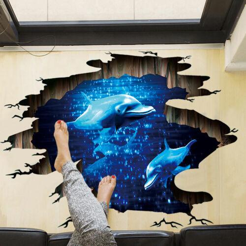 UK 3D Ocean Dolphin Wall Sticker Bathroom Bedroom Floor Art Decal Home Decor