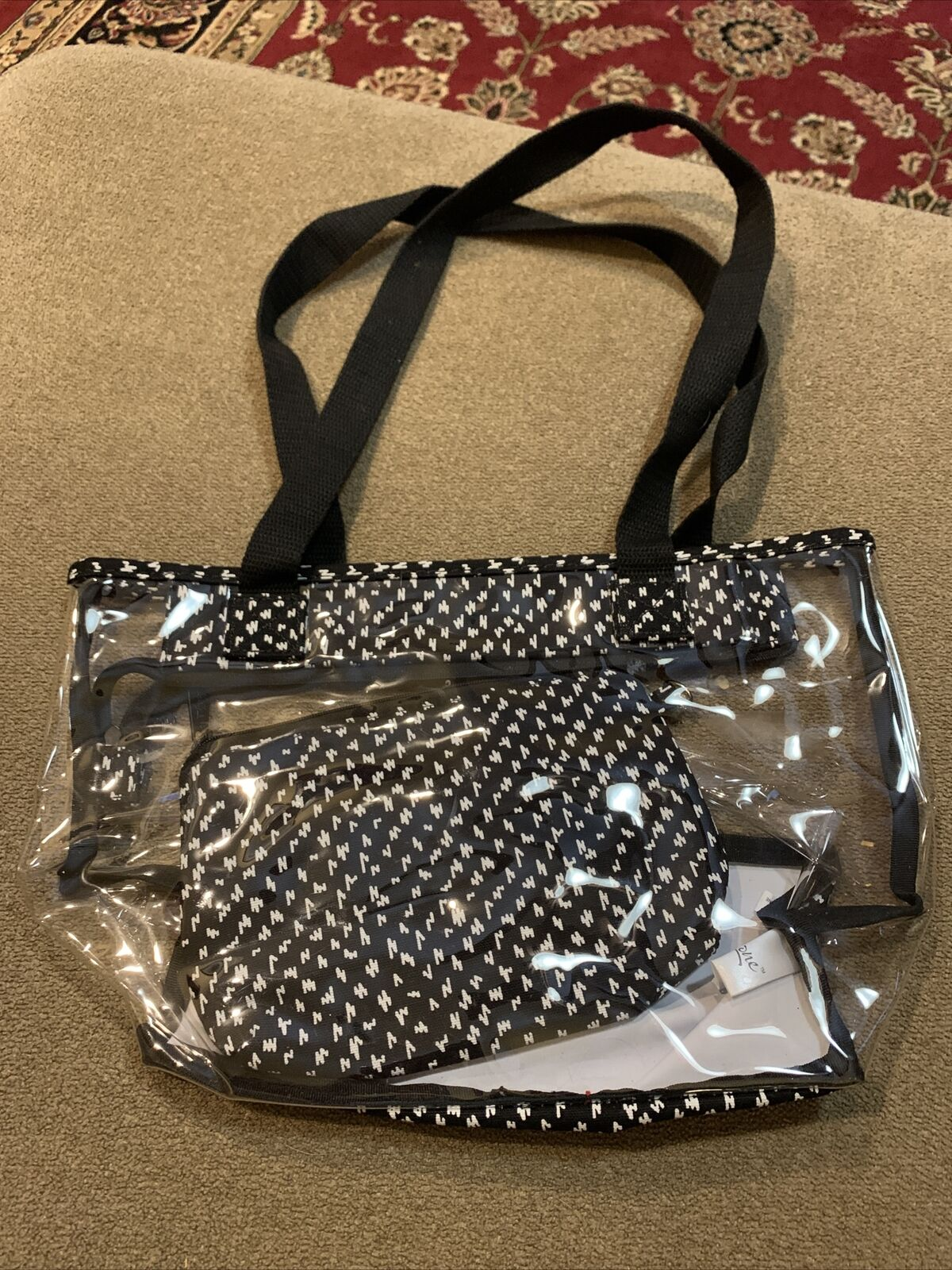 Thirt One Clear As Day Duo Lil Scribble Black White Tote Bag Pouch (LE)