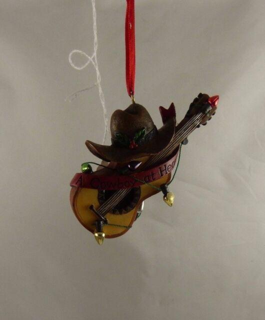 Cowboy at heart hat guitar Christmas ornament Kurt S. Adler xmas