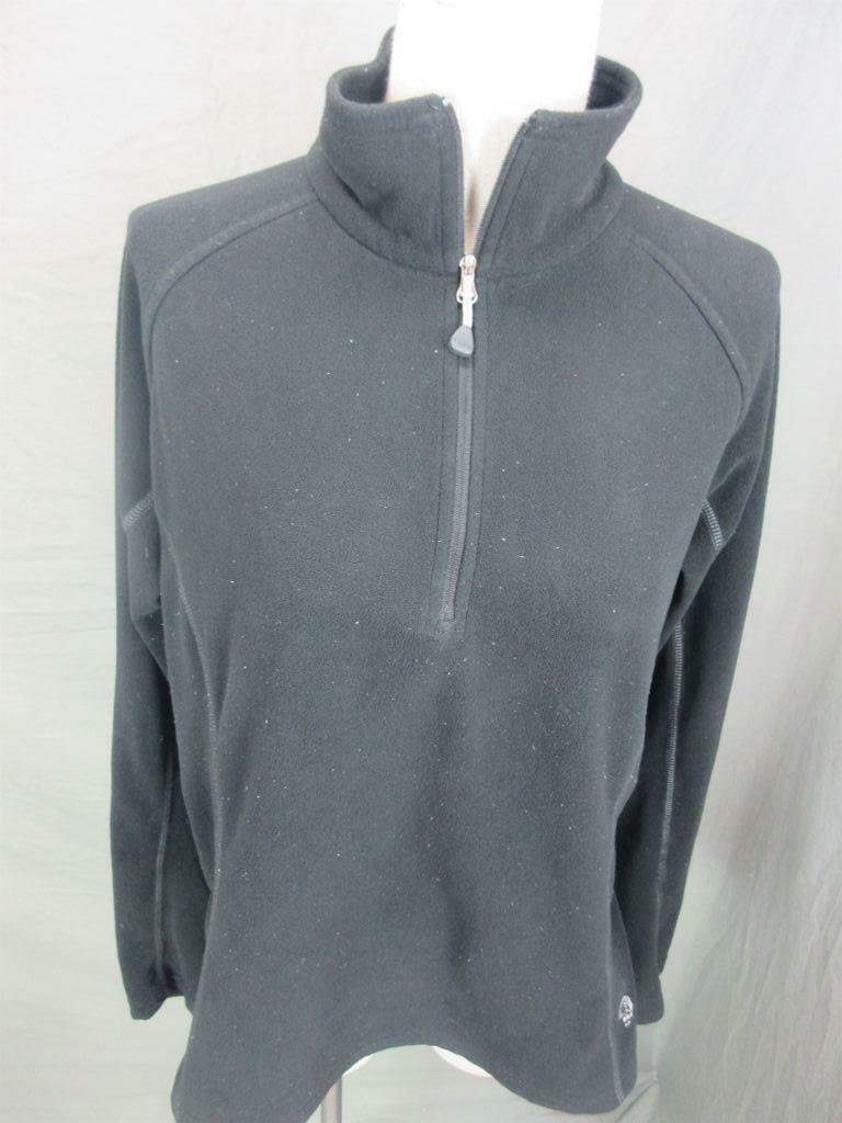 Mountain Hardwear Size L Womens Black Long Sleeve Fleece 1/2 Zip Pullover Shirt