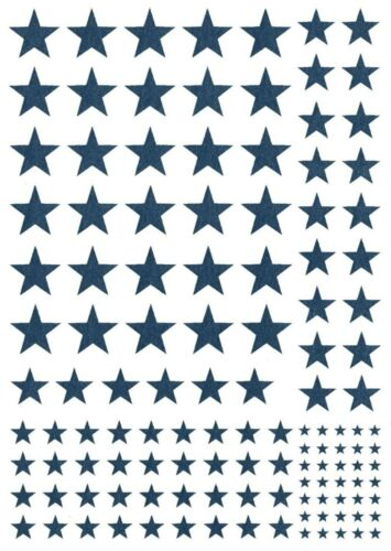 """Stars 5/"""" X 3.5/"""" Card 125 pcs 1//8/"""" to 1//2/"""" Blue Fused Glass Decals 1180"""