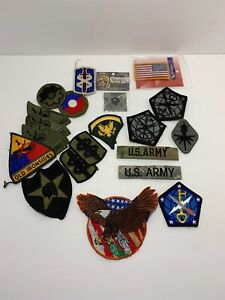 LOT-OF-20-MILITARY-ARMY-ITEMS-PATCHES-14-Sewn-Patch-amp-6-Velcro