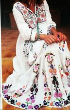 Floral embroidery Gypsy Frilly Maxi Dress,Summer Beach,Hippy boho chic,Festival,