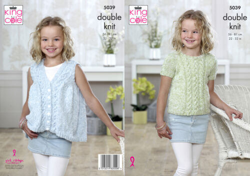 Cabled Top /& Waistocat Childrens Double Knitting Pattern King Cole Girls DK 5039