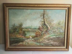 Marie-Charlot-Impressionist-Style-Artist-Signed-Painting-24-034-x35-034-34-034-x42-034-Framed