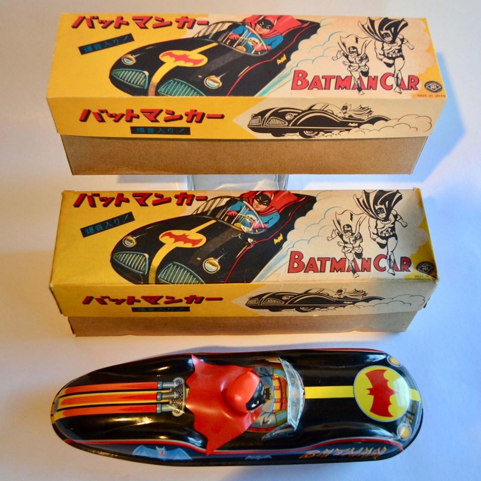 Ultra Raro BATMAN BATMOBILE estaño coche por Masudaya Japan Caja de reproducción solamente