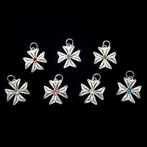 Sterling-Silver-filigree-Maltese-Cross-pendant-2cm-Swarovski-Hand-made-in-Malta