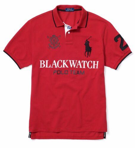 Polo Ralph Lauren Mens Big Pony Logo Slim Fit Blackwatch Black Red Crest Shirt