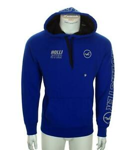 Nuevo-Hombre-Hollister-Sudadera-con-Capucha-Forro-Polar-Mediano-Gris-Azul-Logo