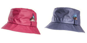Hawkins-Quality-Ladies-Wax-Bush-Bucket-Rain-Hat-With-Feather-Detail-fast-post