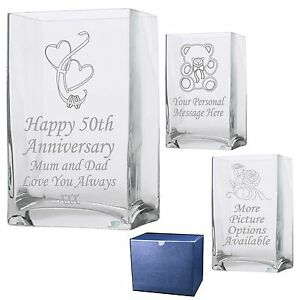 60Th Anniversary Gifts >> Engraved Rectangle Vase 40th 45th 50th 55th 60th Wedding Anniversary