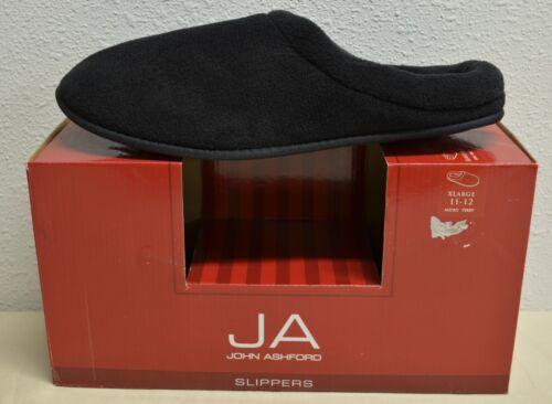 John Ashford Men/'s Terry Cushioned Slippers Black Grey Blue Sizes S M L XL XXL
