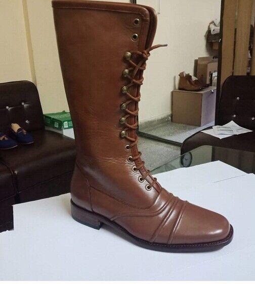 De hombre de marrón botas largas de cuero de estilo militar Excelente, Hombres botas De Cuero Para Hombre Bota