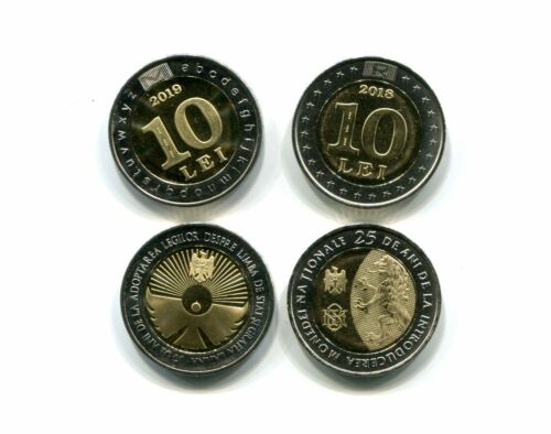 MOLDOVA 10+10 LEI 2018 2019 UNC COIN SET OF 2 COMMEMORATIVE
